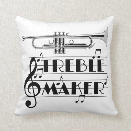Trumpet Player Treble Maker Throw Pillow