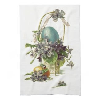 Vintage Easter Basket White Kitchen Towel