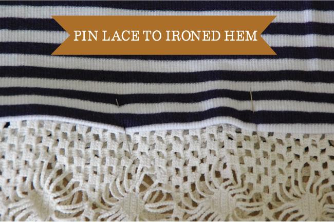 Embellish - pin lace to ironed hem