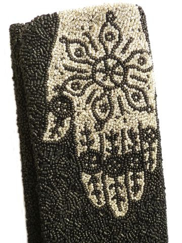 BEADED EVENING CLUTCH - MATTE BEADS - HAMSA HAND OF FATIMA