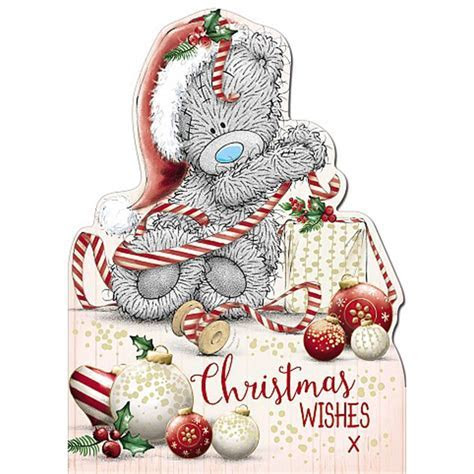 Christmas Wishes Shaped Me To You Bear Christmas Card