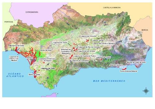 Mapa de la distribución de los sitios Ramsar en Andalucía (Pdf, 1.386 Kb)