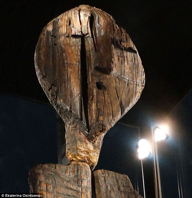 The remarkable Shigir Idol (pictured) which is covered in 'encrypted code' and may be a message from ancient man, is the oldest wooden sculpture in the world