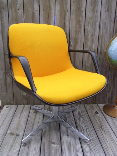 RARE Eames Pollock Style Office Chair YELLOW by OldMillVintage