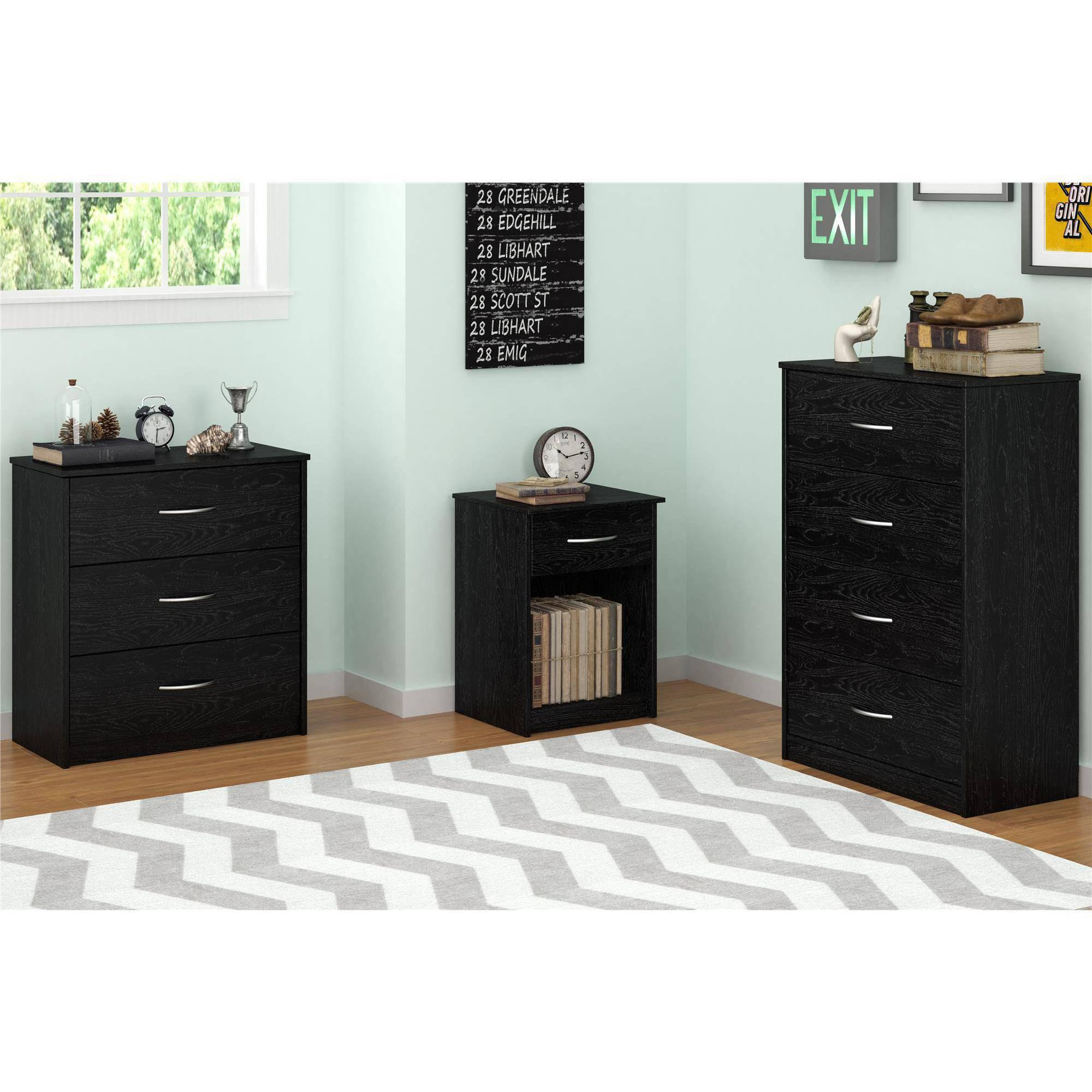 Mainstays Bedroom Storage Dresser Chest 4 Drawer Modern ...