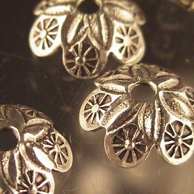 s23276 Sterling Bead Cap - 12 mm Lemon Slices - Thai Silver (1)