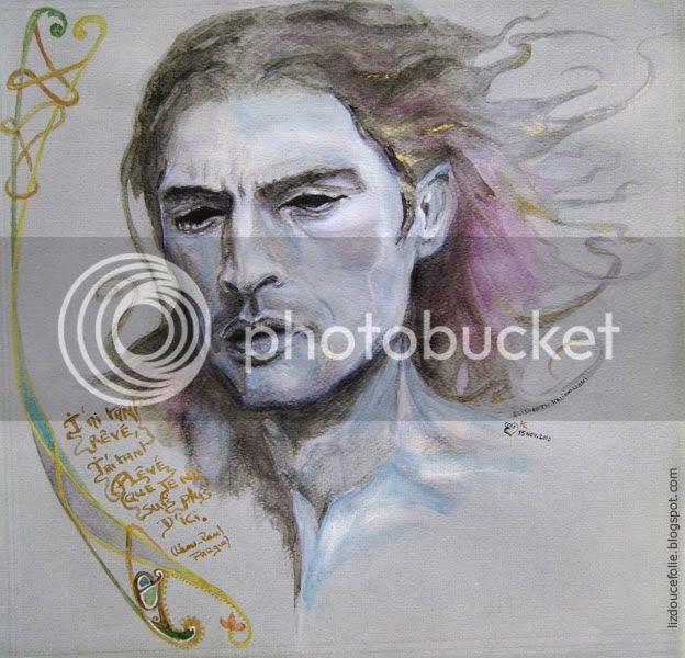 Celtitude ou semblant de rêve Larry Scott livre de Kells book of Kells portrait dessin aquarelle watercolor blue face visage bleu celt celte