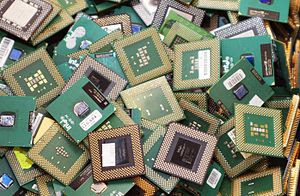 CPUs from retired computers waiting for recycl...