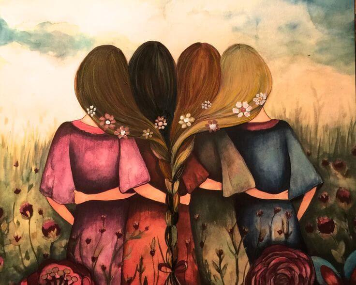 Cuatro amigas abrazandose
