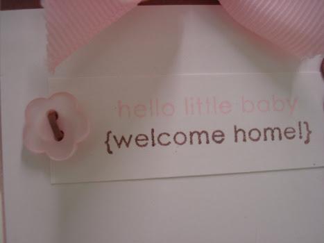 Pink baby card close-up