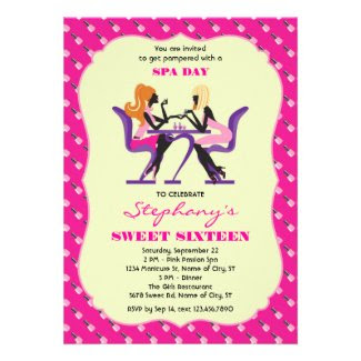 Manicure Spa Sweet Sixteen Invitation