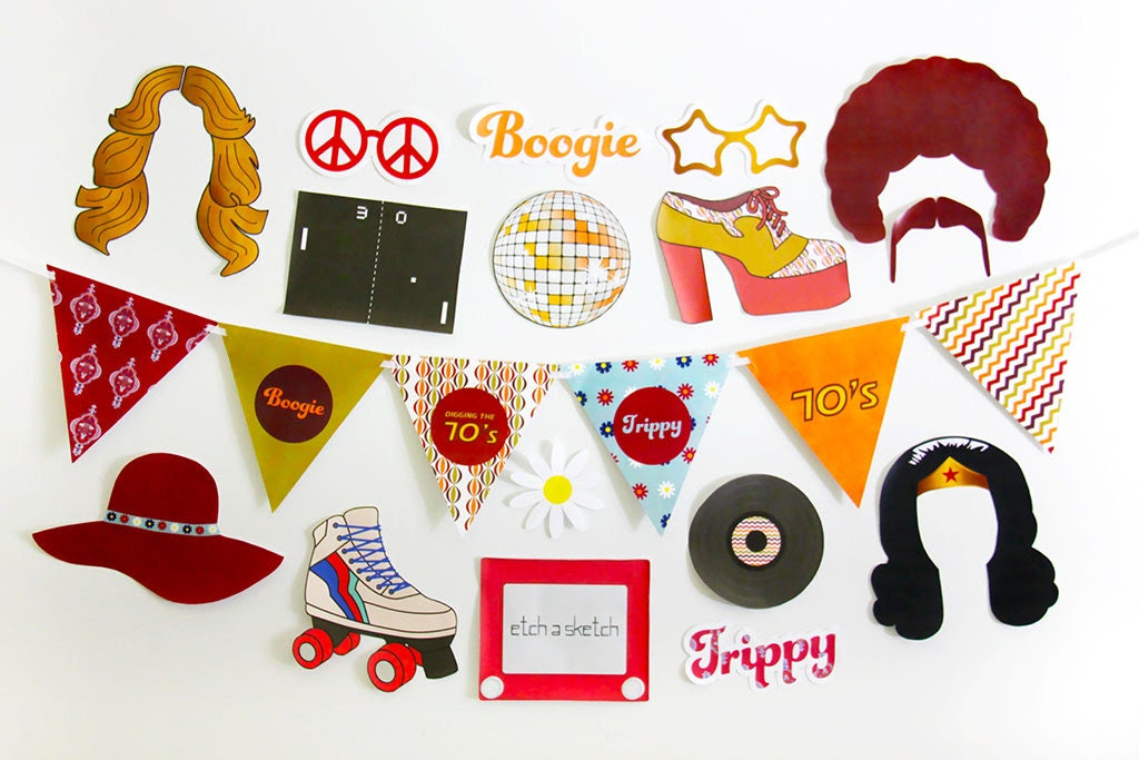 80s Photo Booth Props Printable 80s Props by CreativeSenseCo