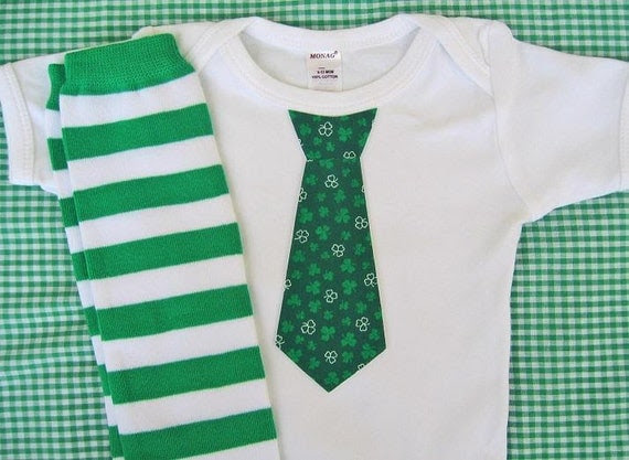 St. Patrick's Day, Spring Baby Boy Tie Onesie, Striped Leg Warmers - children, baby clothing Green, Stripes, Argyle, Shamrock, Dots, Damask