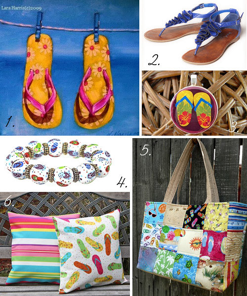 handmade items featuring flip flops, national flip flop day