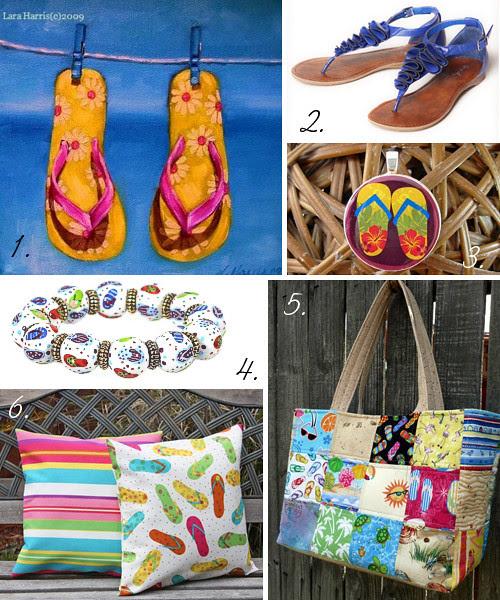 handmade items featuring flip flops, national flip flop day