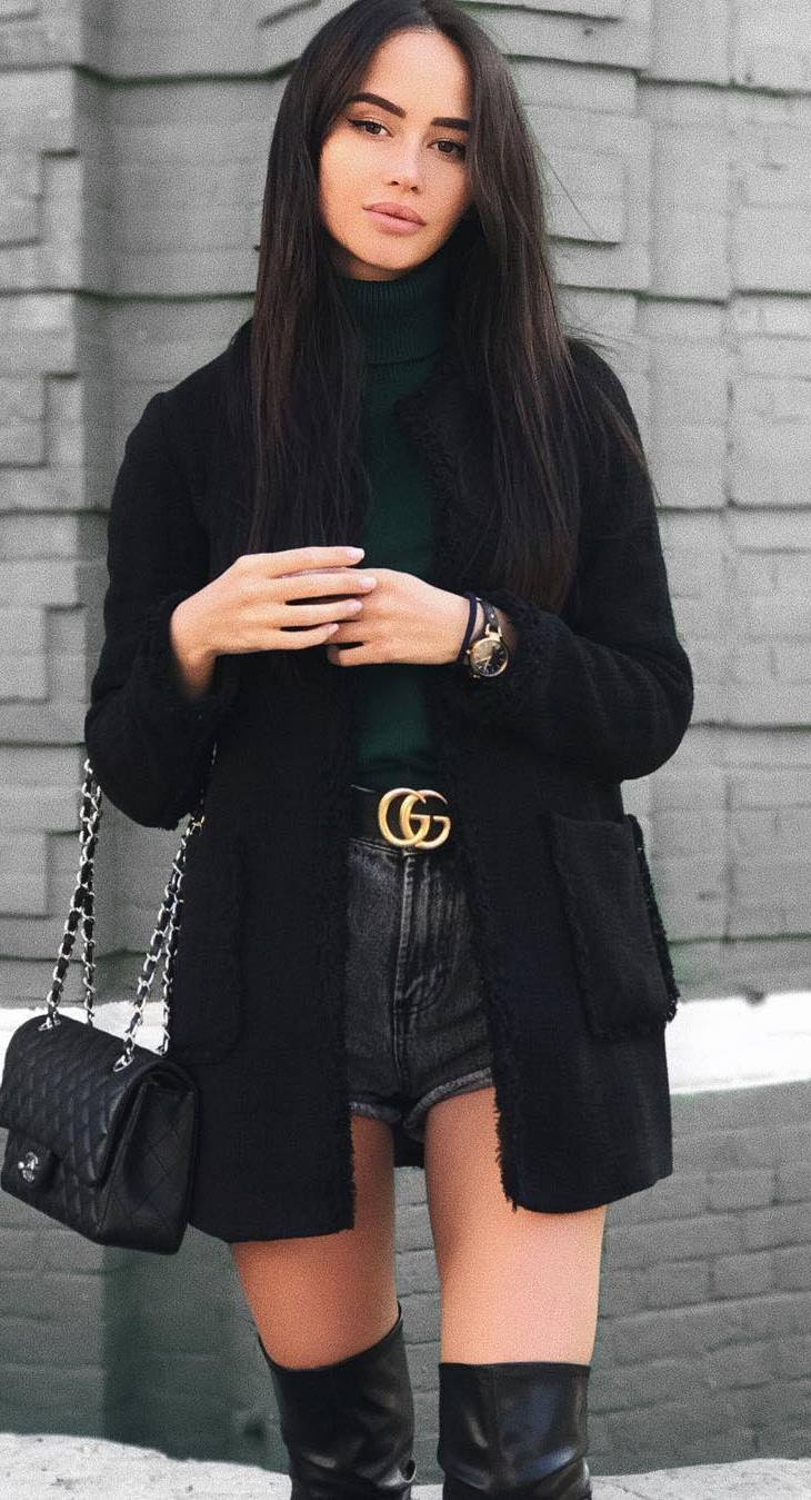 stylish look_coat + sweater + bag + denim shorts + over knee boots