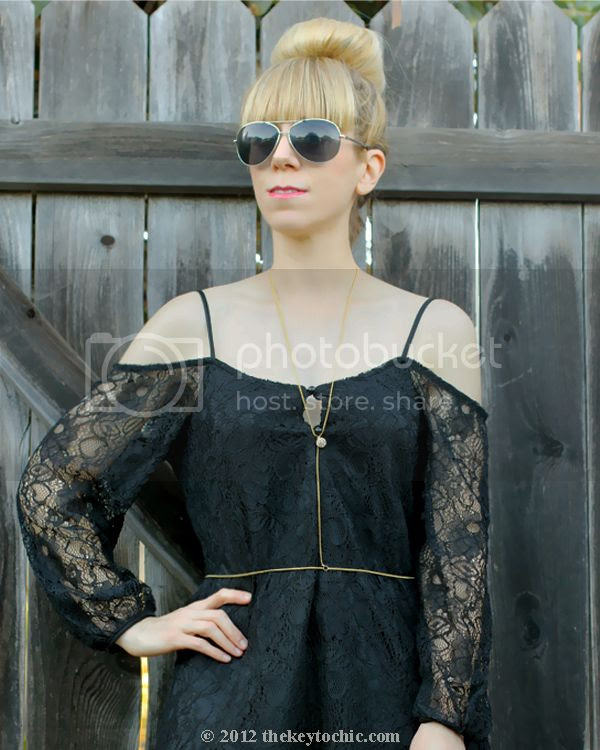 Foreign Exchange black lace dress, ballerina bun, Sugar Scout body chain, Los Angeles fashion blog