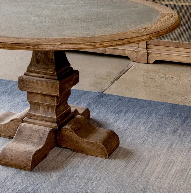 zinc top round dining table