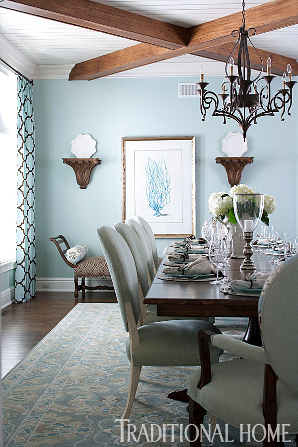 Brilliant Blue And Brown Traditional Home