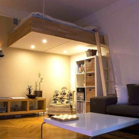 adult loft bed bespoke wood lights  design