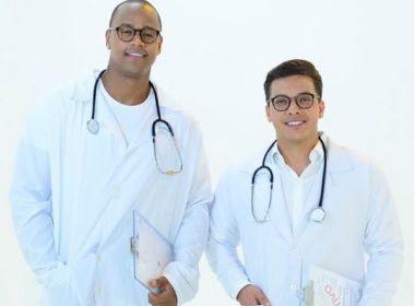 Vestidos de médicos, Léo Santana e Safadão gravam clipe de nova parceria