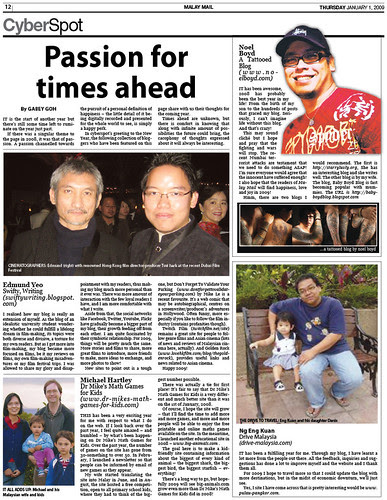 Passion for times ahead - Jan 1 2009 interview with Malay Mail