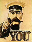 Lord Kitchener, retratado no cartaz famoso recrutamento '