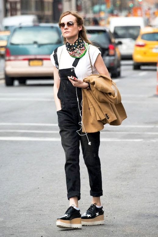 Le Fashion Blog Celebrity Style Diane Kruger White Tee Black Denim Overalls Neck Scarf Star Print Stella McCartney Platform Oxfords Via Savoir Flair