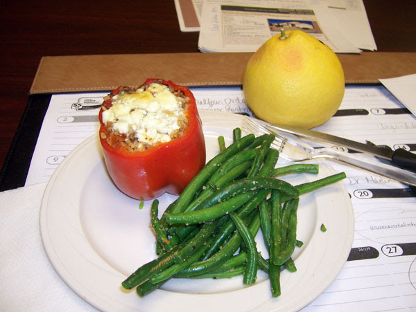 Lunch! Beef/Brown Rice Stuffed Red Pepper & steamed green beans, with a grapefruit
