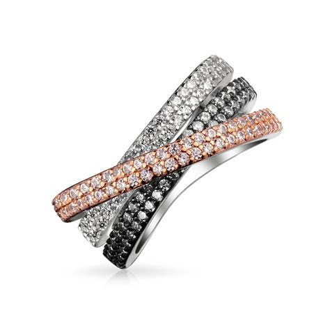 Tri Color Pave CZ Band Criss Cross Ring Rose Gold Plated Brass