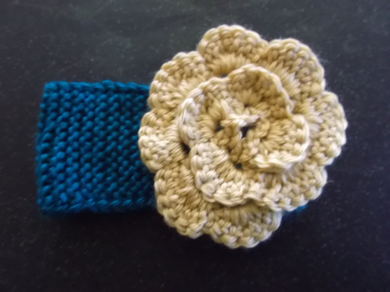 Knit Teal Baby Headband, Earwarmer With Crocheted Gold Rosette Accessory Size 0-3 Months: Easter/Spring