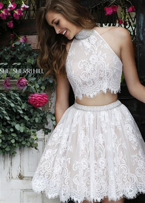 sherri hill  ivory lace  piece dress