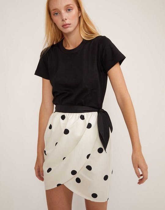 Emery Polka Dot Wrap Skirt by Cynthia Rowley
