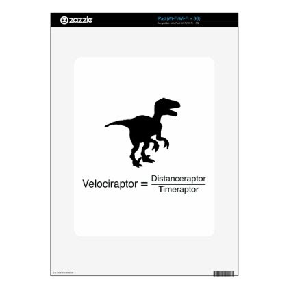 velociraptor funny science decal for iPad