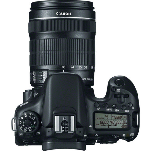 Canon EOS 70D DSLR Camera with 18-135mm f/3.5-5.6 Lens Top View