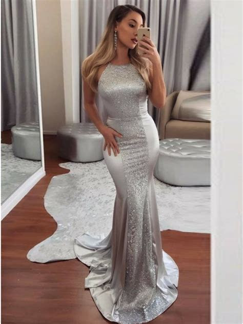 mermaid crew backless sweep train silver prom dress