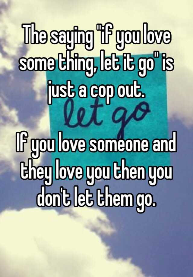 The Saying If You Love Some Thing Let It Go Is Just A Cop Out If