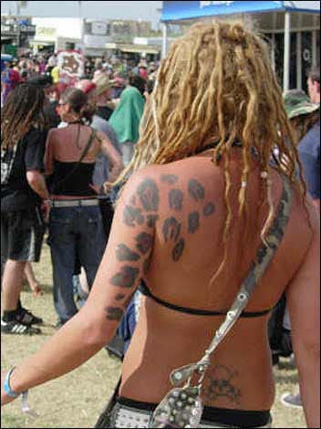 lady with leopard print tattoo on back