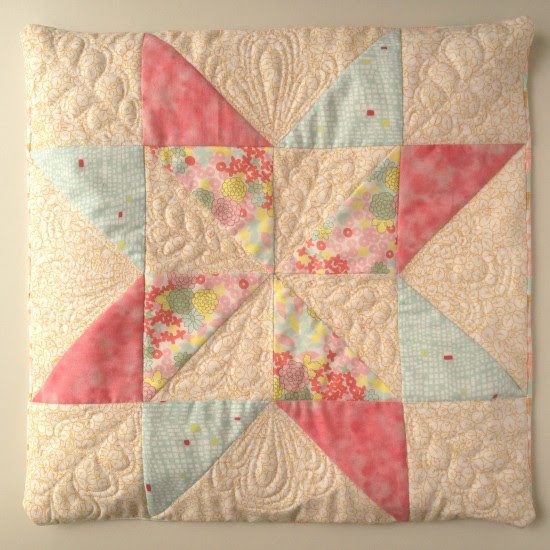 Kokka Irome Aurora star quilt block pillow