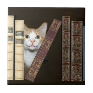 Cat and books tile