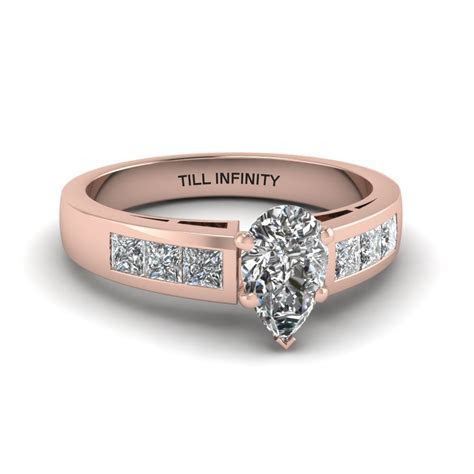 Pear Shaped Engraved Channel Princess Accent Diamond
