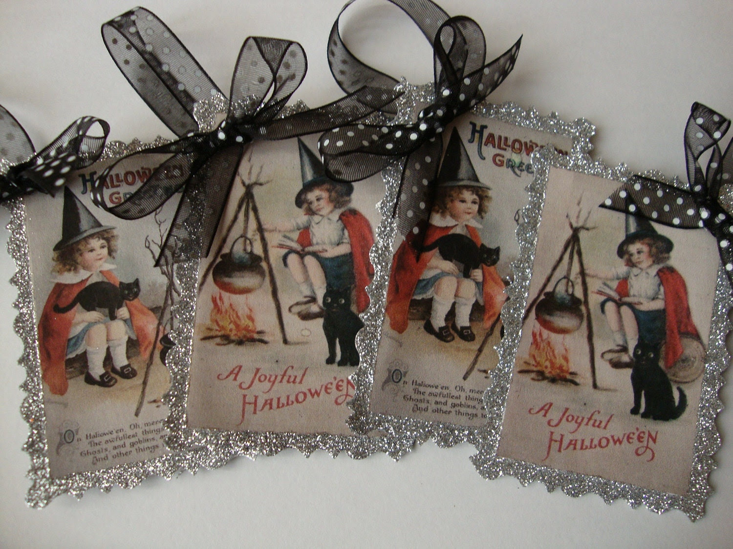 Vintage style Halloween ornaments tags little witchs Black and silver