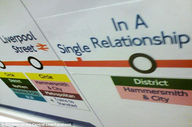 Brightening the journey: Commuters can travel from Single to In A Relationship via the Central Line according to this prank sticker
