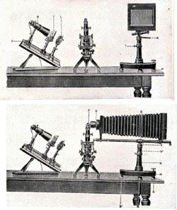 Instalación original de Orueta para microfotografías con el microscopio en cualquier posición, y especialmente en la inclinada. Arriba, posición normal de trabajo, es decir, la de observación directa. Abajo, la cámara está en posición para tomar la microfotografía.