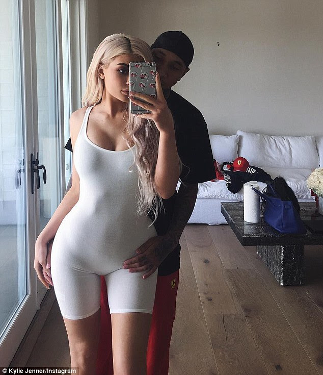 Gone too far? Kylie Jenner shared this Instagram snap on Sunday where Tyga rested his hand on her bikini line