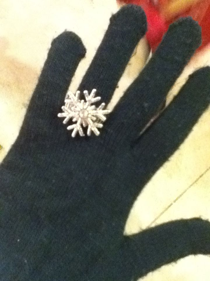 Holiday jewelry- snowflake ring with silver gems- black gloves