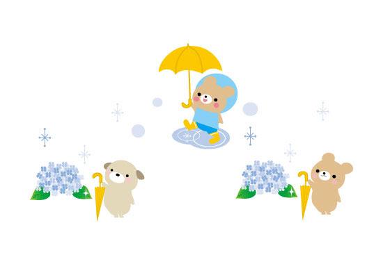 フリー素材 雨の日のかわいい動物達を描いた梅雨のフリー