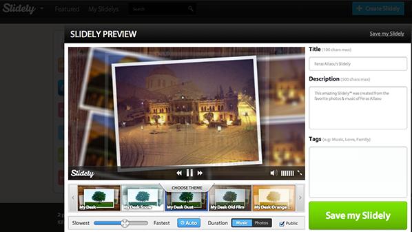 يسمح بإنشاء مقاطع إحترافية للصور من خلال التأثيرات التي يقدمها مع إمكانية اختيار المقطع الصوتي