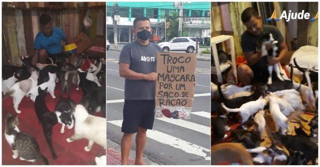Em Manaus, protetor de animais sai às ruas para trocar máscaras por saco de ração