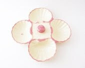 Shabby Chic Pink SHELL POTTERY - Vintage Oyster Trinket Dish - Beach Wedding Decor - harlowmonroevintage